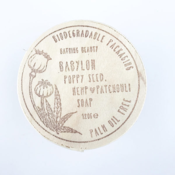 image to show the top of the wooden babyon soap box featuring original hand drawn botanical illustrations