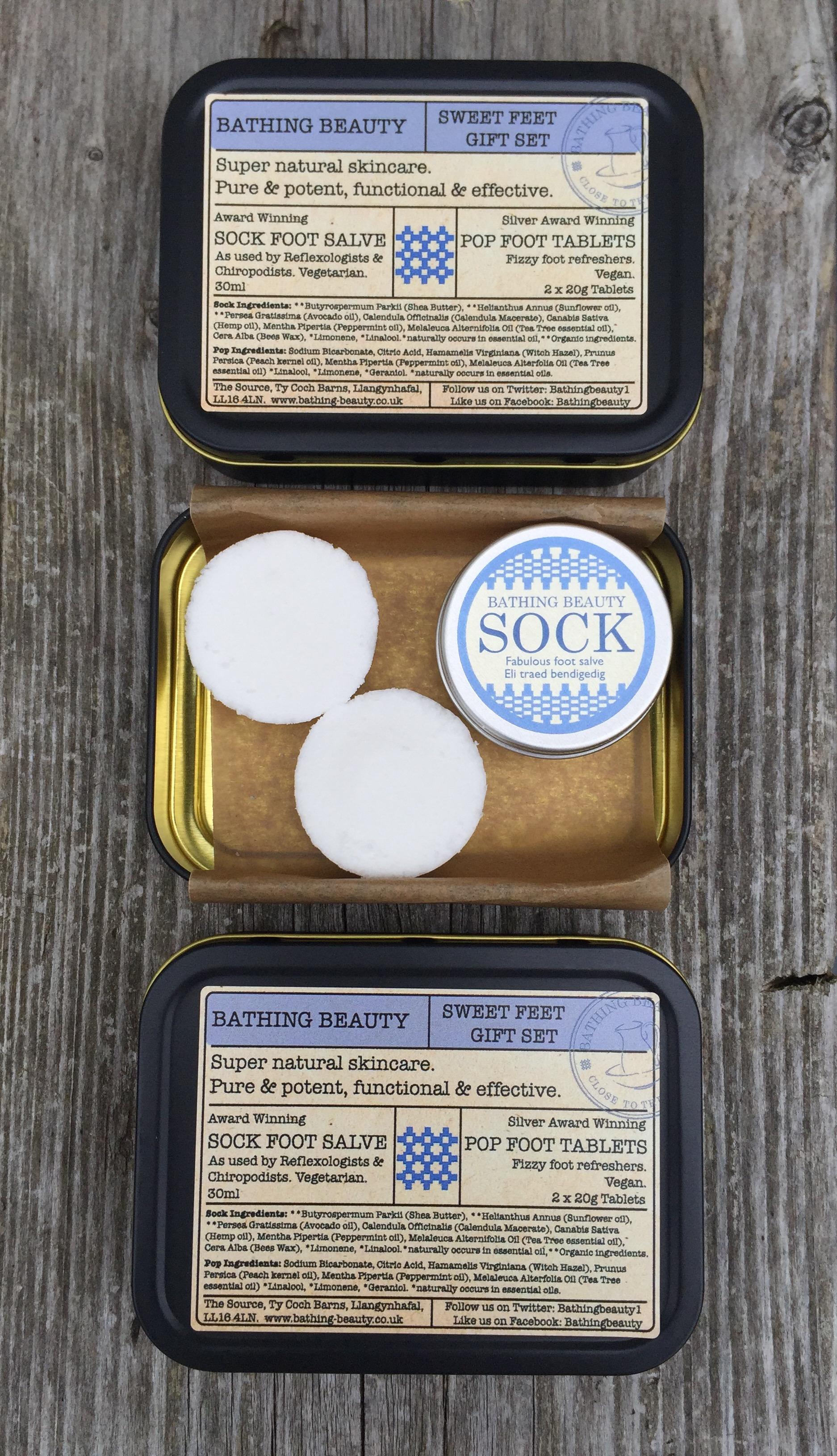 Swtt Feet Gift Tin contains silver award winning Pop Foot Tablet and award winning Sock foot salve