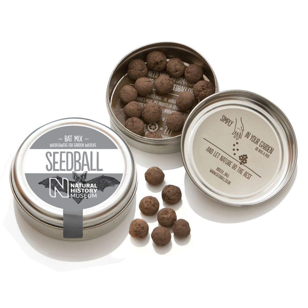 An image to show an open tin of Bat Mix Seedballs