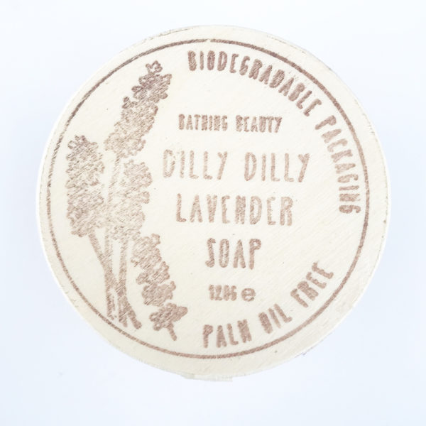 A photo to show the top of a box of Dilly Dilly Lavender Soap