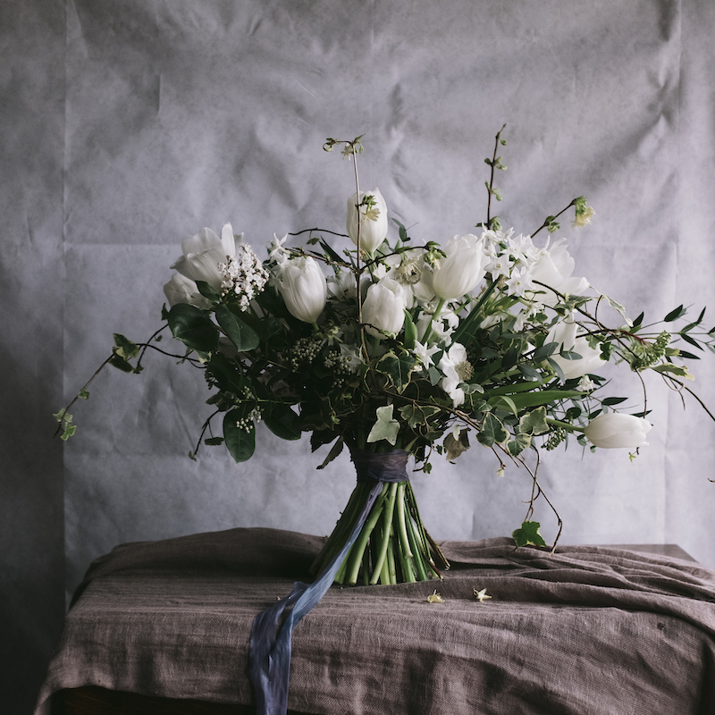 image to show a stunning sustainable hand tided spring bouquet
